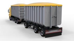 Grote gele vrachtwagen met afzonderlijke aanhangwagen, voor vervoer van landbouw en de bouw bulkmaterialen en producten 3D render Royalty-vrije Stock Fotografie