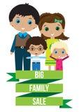 Grote gelukkige familieverkoop Stock Afbeeldingen