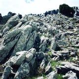 Grote geneigde keien Oude foto Vallei dichtbij de Berg van Tahtali Dagi, Turkije Stock Fotografie