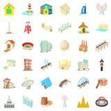 Grote geplaatste de bouwpictogrammen, beeldverhaalstijl Royalty-vrije Stock Foto