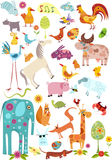 Grote geplaatste dieren Stock Foto