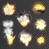 Grote geplaatste explosies Stock Foto's