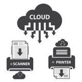 Grote geplaatste gegevenspictogrammen, de opslag van het Wolkendocument Royalty-vrije Stock Afbeeldingen