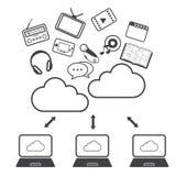 Grote geplaatste gegevenspictogrammen, Wolk gegevensverwerking Royalty-vrije Stock Foto