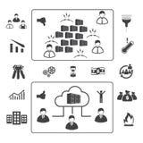 Grote geplaatste gegevenspictogrammen, Wolk gegevensverwerking Royalty-vrije Stock Afbeeldingen