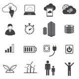 Grote geplaatste gegevenspictogrammen, Wolk gegevensverwerking Royalty-vrije Stock Afbeelding
