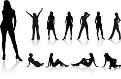 Grote geplaatste meisjes - 2. Silhouet Royalty-vrije Stock Foto's
