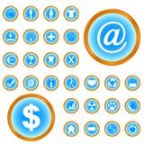 Grote geplaatste pictogrammen Stock Foto's