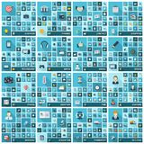 Grote geplaatste pictogrammen Vectorillustratie van vlak gekleurd pictogram met lange schaduwen Teken en symbolen voor zaken Royalty-vrije Stock Fotografie