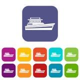 Grote geplaatste powerboatpictogrammen royalty-vrije illustratie