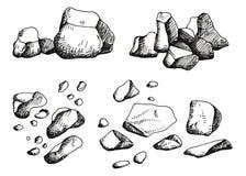 Grote geplaatste stenen De tekening van de hand Vector Stock Foto's