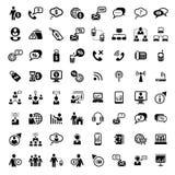 Grote geplaatste zaken en financiële pictogrammen Stock Foto's
