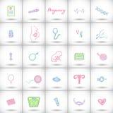 Grote geplaatste zwangerschapspictogrammen Hand-drawn de geboorteelementen van de beeldverhaalbaby - baby, hulpmiddelen, vrouweli Royalty-vrije Stock Fotografie