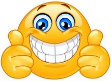 Grote glimlach emoticon met omhoog duimen royalty-vrije illustratie