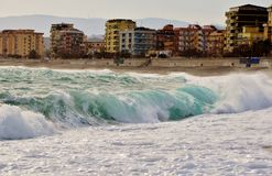 Grote golven in Catanzaro Lido Royalty-vrije Stock Fotografie