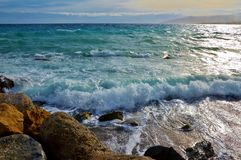 Grote golven in Catanzaro Lido Stock Foto