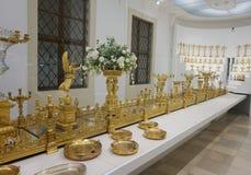 Grote gouden fruitmenation van de familie van Habsburg in de Keizer Zilveren Inzameling in Hofburg royalty-vrije stock afbeelding