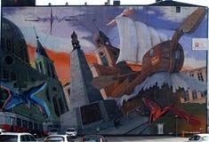 Grote graffit van de stad Lodz stock afbeelding