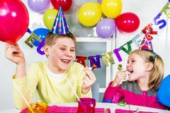 Grote grappige verjaardagspartij royalty-vrije stock foto's