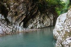 Grote grijze steencanion van blauwe bergrivier in het meest greenforest Stock Fotografie