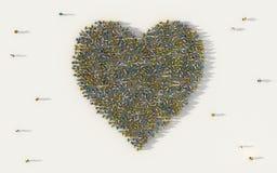 Grote groep die mensen hartsymbool in sociale media en communautair concept op witte achtergrond vormen 3d teken van menigte stock illustratie