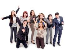 Grote groep gelukkige bedrijfsmensen. Succes. Stock Afbeeldingen