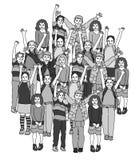 Grote groep glimlachende gelukkige zwart-witte kinderen Royalty-vrije Stock Foto's