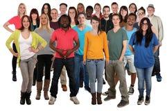 Grote groep jonge het glimlachen mensen status Royalty-vrije Stock Afbeelding