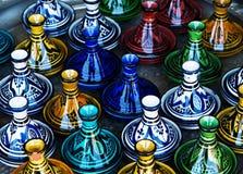 Grote groep kleurrijke ceramische kandelaars. Royalty-vrije Stock Foto's