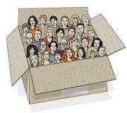 Grote groep mensen in de doos. Royalty-vrije Stock Fotografie