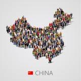 Grote groep mensen in de kaartvorm van China Bevolking van China of demographicsmalplaatje stock illustratie