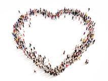 Grote groep mensen in de vorm van een hart