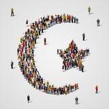 Grote groep mensen in de vorm van Ster en halve maan Islamteken moslimachtergrond Godsdienstig symbool stock illustratie