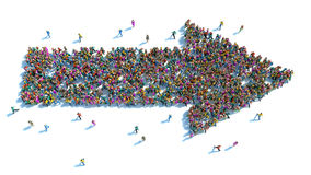 Grote groep mensen die in de vorm van een pijl wordt bevonden Royalty-vrije Stock Afbeelding