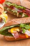 Grote groep sandwiches op een lijst royalty-vrije stock foto's