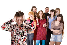 Grote groep tiener. Probleem. Stock Foto's