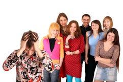 Grote groep tiener. Probleem. Royalty-vrije Stock Afbeelding