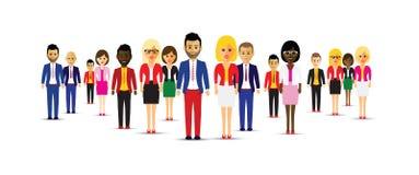 Grote groep verschillende mensen royalty-vrije illustratie