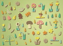 Grote Grunge-Vegetatieinzameling in kleuren, met texturen en sh Royalty-vrije Stock Afbeeldingen