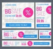 Grote, halve prijs en de banners van één dagverkoop Vector Stock Fotografie