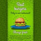 Grote hamburger met kaas, saus die, twee burgers, sla, op grote blauwe plaat liggen Het vectorwerk voor vliegers, menu's, verpakk Stock Foto