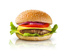 Grote hamburger op witte achtergrond Stock Foto's