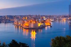 Grote haven en Senglea van Valletta, Malta Royalty-vrije Stock Afbeelding