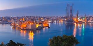 Grote haven en Senglea van Valletta, Malta Royalty-vrije Stock Afbeeldingen