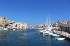 Grote Haven, mening aan de Drie Steden, Malta, Valletta Stock Foto