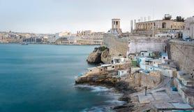 Grote Havenmening met Valletta-strandboulevard, Malta Stock Afbeelding