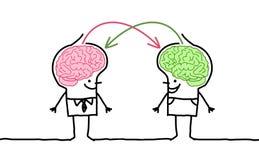 Grote hersenenmensen & uitwisseling Stock Foto's