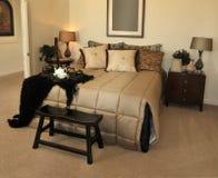 Grote het uitnodigen comfortabele slaapkamer Stock Foto