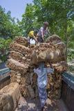 Grote hoeveelheden droge tabakken die in een dragende vrachtwagen binnen buiten Dhaka laden, manikganj, Bangladesh Stock Afbeeldingen