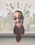 Grote hoofdpersoon met de tekens van de ideedollar Stock Afbeelding